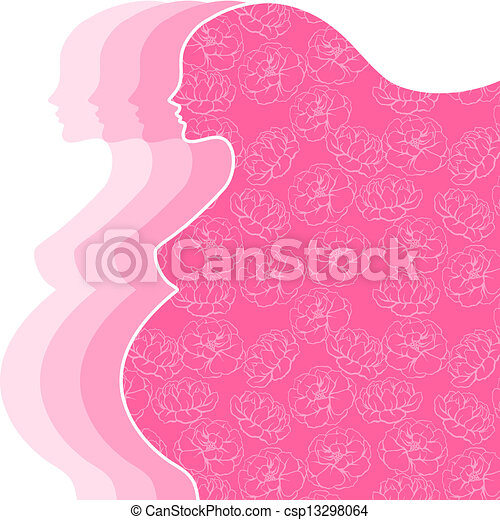 Background with silhouette of pregnant woman. - csp13298064