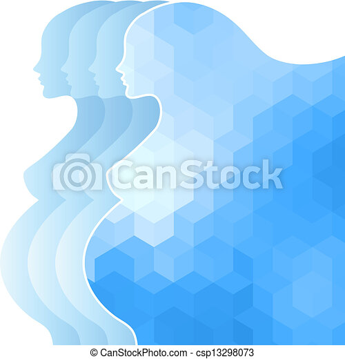Background with silhouette of pregnant woman. - csp13298073