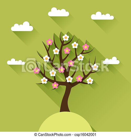 Background with spring tree in flat design style. - csp16042001