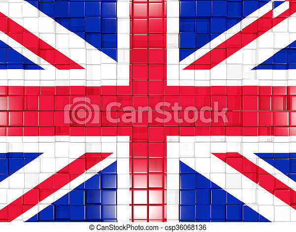Background with square parts. Flag of united kingdom. 3D illustration - csp36068136