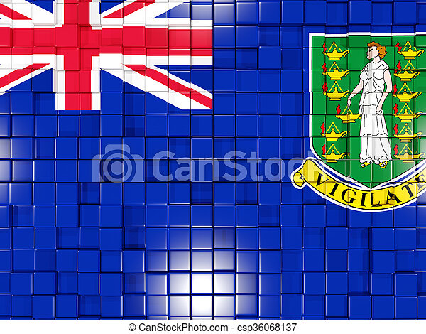 Background with square parts. Flag of virgin islands british. 3D illustration - csp36068137