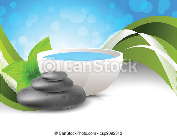 Background with stones and leaves - csp9092313
