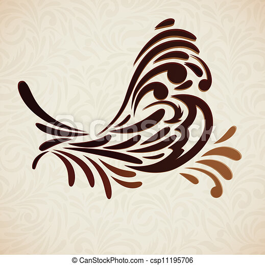 Background with stylized bird - csp11195706