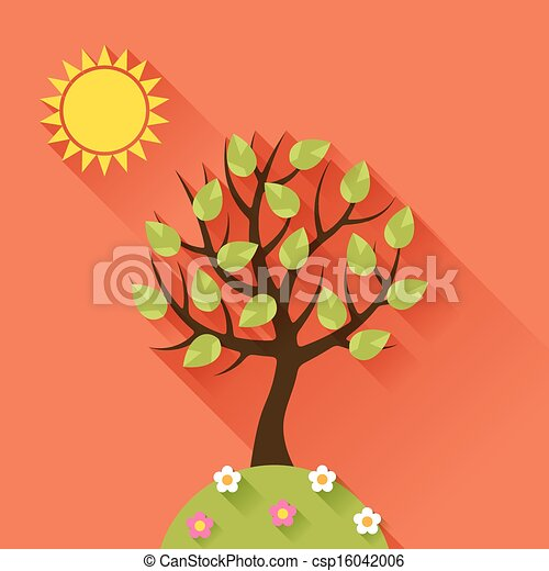 Background with summer tree in flat design style. - csp16042006
