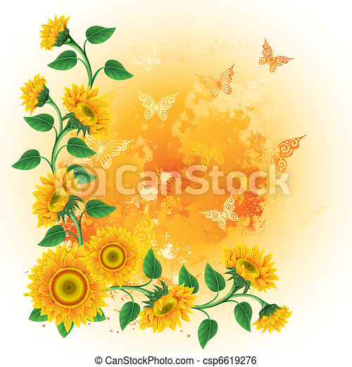 Background with sunflowers - csp6619276