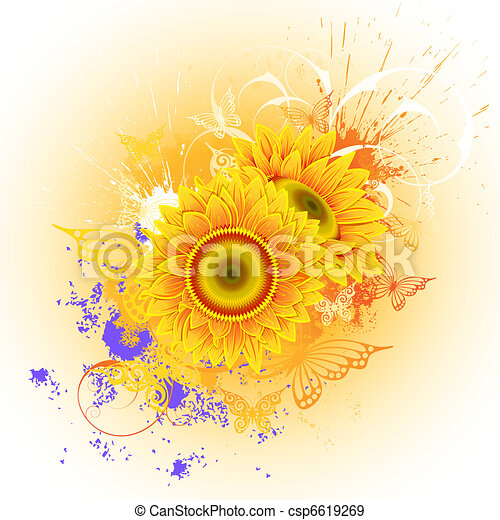 Background with sunflowers - csp6619269