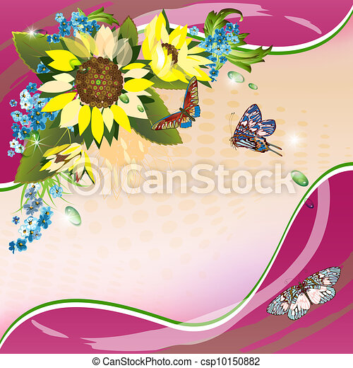 Background with sunflowers - csp10150882
