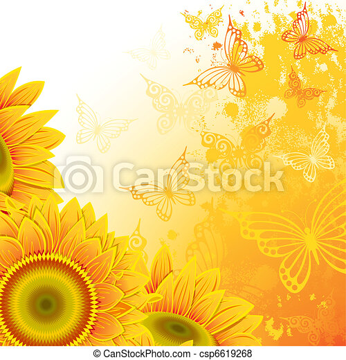 Background with sunflowers - csp6619268