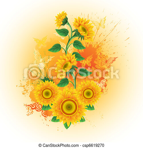 Background with sunflowers - csp6619270