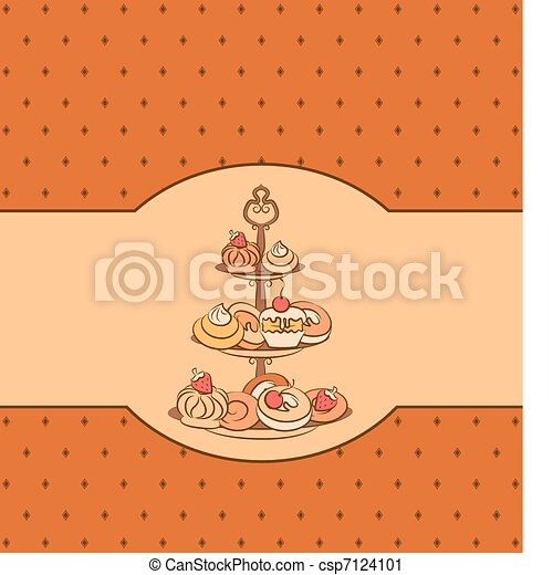 background with sweet cakes.  - csp7124101
