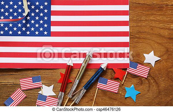 Background With Symbols Of America Celebration Of July 4