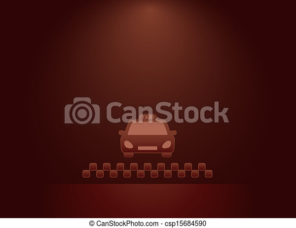 background with taxi car, cabs sign - csp15684590