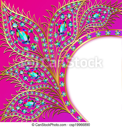 background with the Golden peacock feathers of precious stones - csp19966890