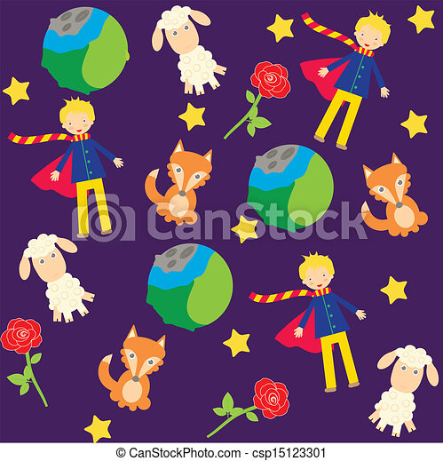 Seamless Background With The Little Prince Characters Vector Clipart Search Illustration