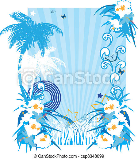 Background with tropical plants - csp8348099