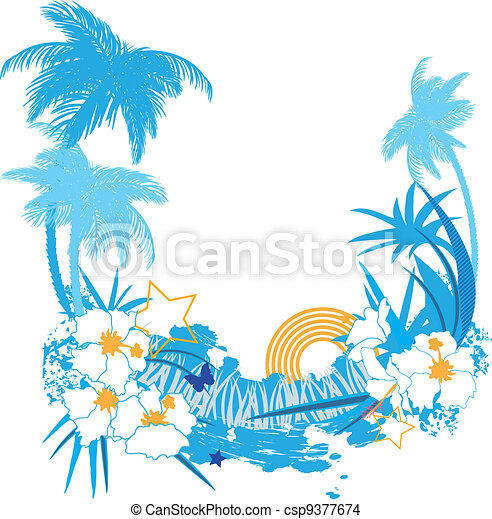 Background with tropical plants - csp9377674