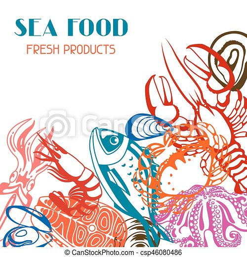 Background with various seafood. Illustration of fish, shellfish and crustaceans - csp46080486