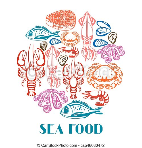 Background with various seafood. Illustration of fish, shellfish and crustaceans - csp46080472