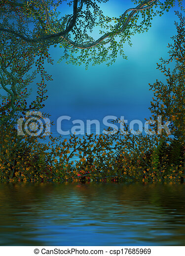 Background With Vines, Roses and a Pond - csp17685969