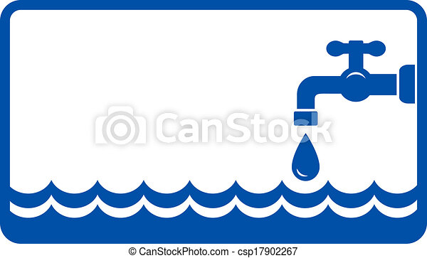 background with water wave and tap - csp17902267