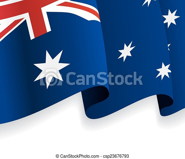Background with waving Australian Flag. Vector - csp23676793