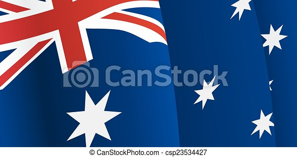 Background with waving Australian Flag. Vector - csp23534427
