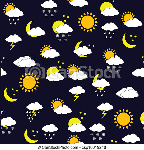 Background with weather forecast icnons, seamless pattern - csp10019248