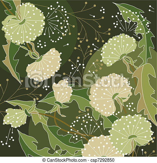Background with white dandelions - csp7292850