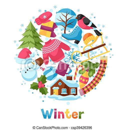 Background With Winter Objects Merry Christmas Happy New Year