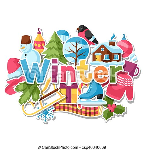 Background with winter stickers merry christmas happy new clip background with winter stickers merry christmas happy new year holiday items and symbols voltagebd Images