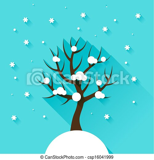 Background with winter tree in flat design style. - csp16041999