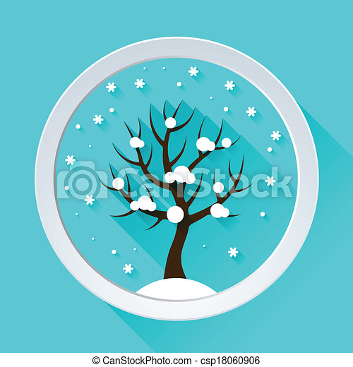 Background with winter tree in flat design style. - csp18060906