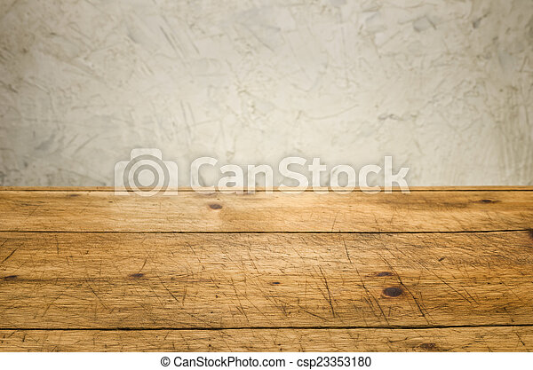 Background with wooden table and a rustic wall - csp23353180