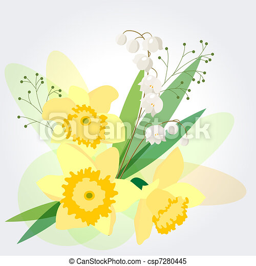 Background with yellow daffodils  - csp7280445