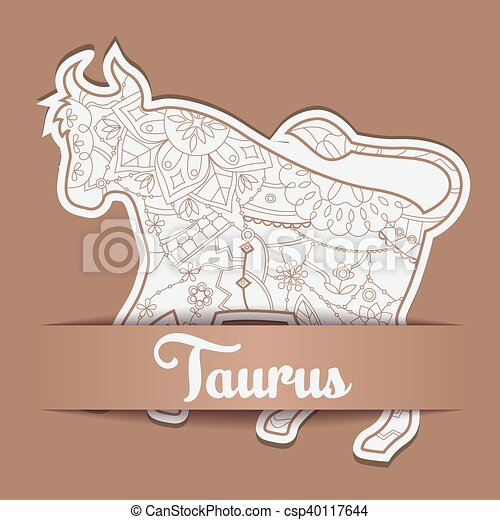 Background with zodiac sign Taurus - csp40117644