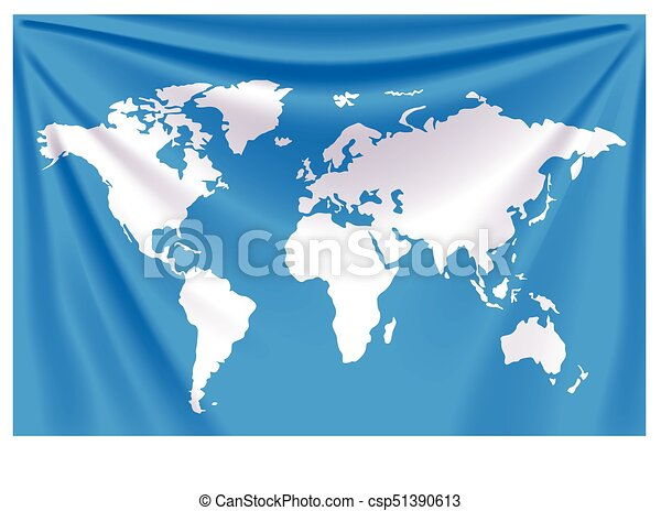 Background World Map Illustration Of Blue Realistic Flag With World