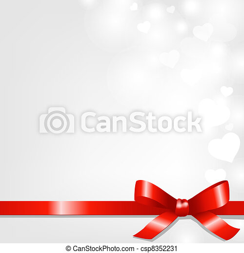 Backgrounds With Red Ribbon And Hearts - csp8352231