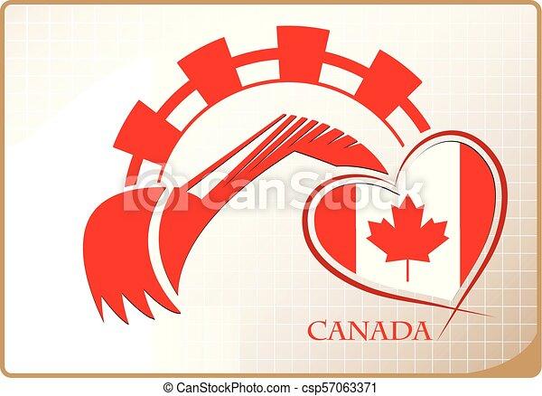 backhoe, drapeau canada, fait, logo - csp57063371