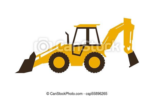 backhoe, illustration., lustroso, machinery., loader., vetorial, construção, style., ícone - csp55896265