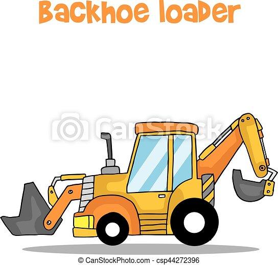 backhoe loader cartoon vector art illustration collection eps rh canstockphoto com cat backhoe clipart backhoe clipart png