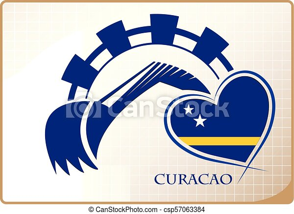 Backhoe logo made from the flag of Curacao - csp57063384