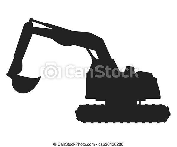 backhoe, máquina, ícone - csp38428288