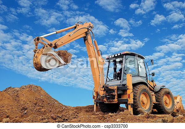 backhoe, rised, 挖掘機, loader - csp3333700