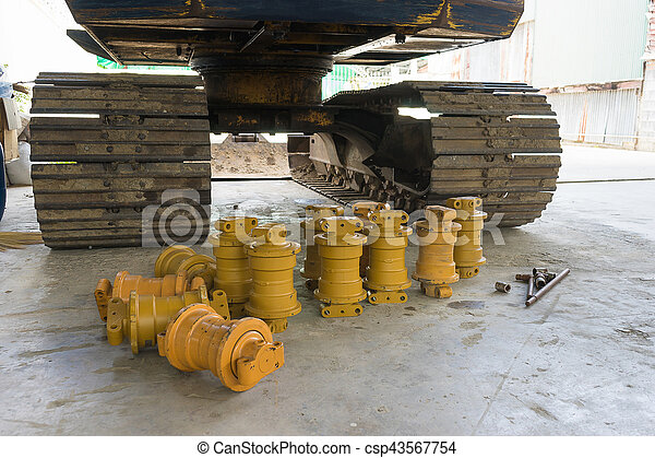 Backhoe track with roller repair part or spare part. - csp43567754