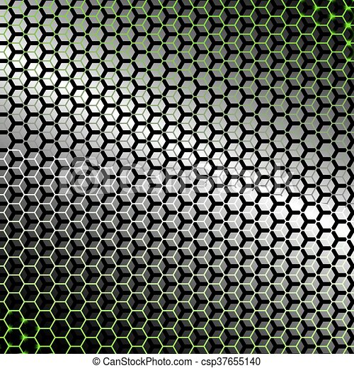 backlight., résumé, métal, hexagones, arrière-plan vert - csp37655140