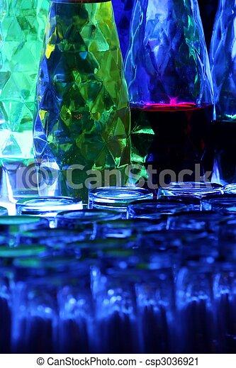 Backlit Bottles in Pub - csp3036921