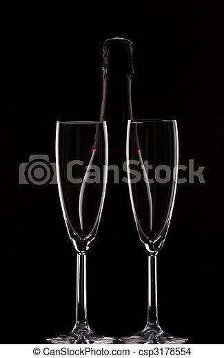 Backlit champagne bottle - csp3178554
