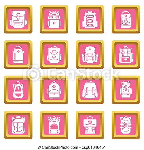 Backpack icons set pink square - csp61046451