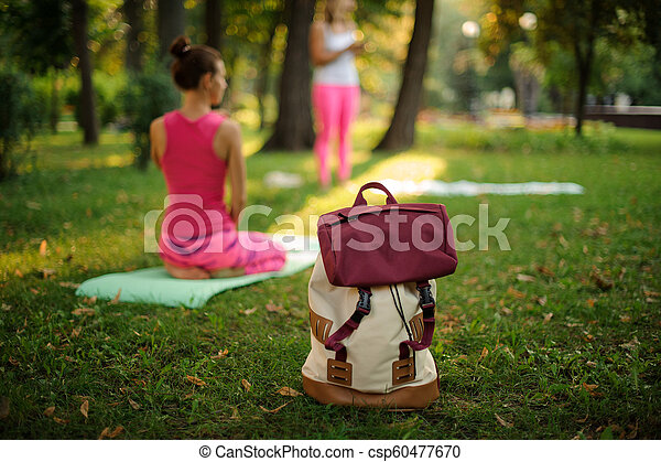 Backpack on grass in a green park on summer day against yoga class - csp60477670