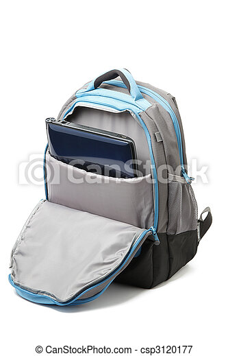 Backpack with a laptop inside isolated - csp3120177